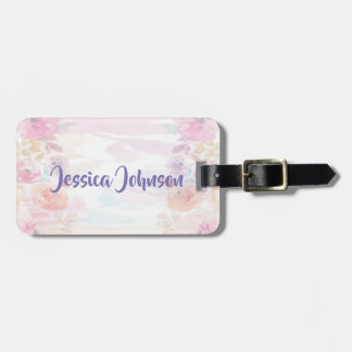 Pretty Pastel Floral Watercolor Luggage Tag