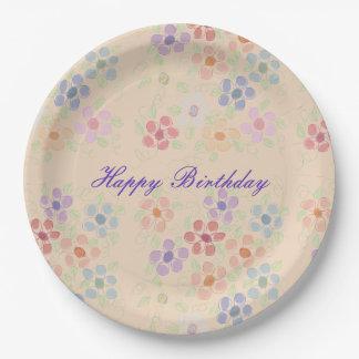 Pretty Pastel Flowered Paper Birthday Plates