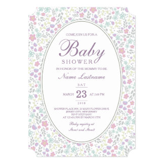 Pretty Pastel Flowers Pattern Baby Shower Invite