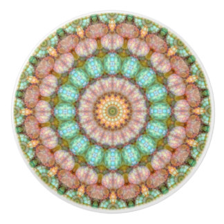 Pretty Pastel Jellybean Mandala Ceramic Knob