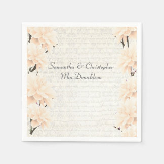 Pretty pastel peach floral country wedding paper napkins