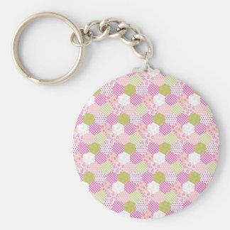 Pretty Pastel Pink Green Patchwork Quilt Design Basic Round Button Keychain