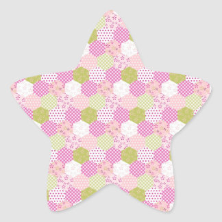 Pretty Pastel Pink Green Patchwork Quilt Design Star Sticker