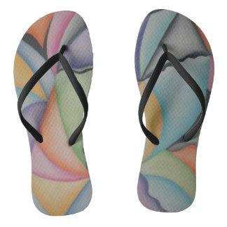 Pretty Pastel Shapes Flip Flops