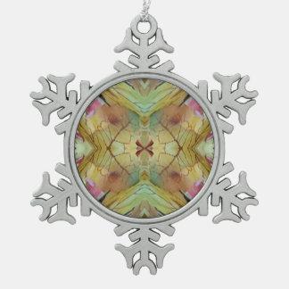 Pretty Pastel Uncommon Pattern Pewter Snowflake Ornament