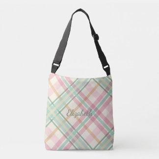 Pretty pastels mint pink plaid crossbody bag