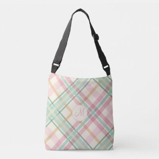 Pretty pastels mint pink plaid with monogram crossbody bag