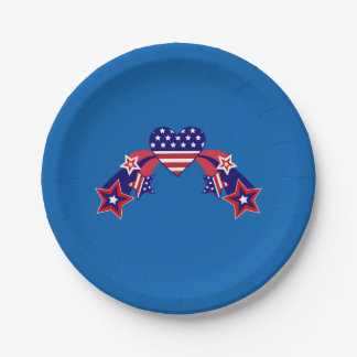 Pretty Patriotic Fourth of July Hearts 7 Inch Paper Plate