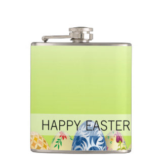 Pretty Patterned Easter eggs on spring green Hip Flask