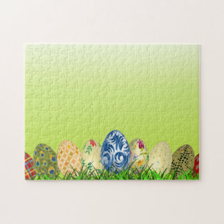 Pretty Patterned Easter eggs on spring green Jigsaw Puzzle