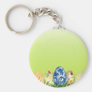 Pretty Patterned Easter eggs on spring green Keychain