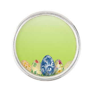 Pretty Patterned Easter eggs on spring green Lapel Pin