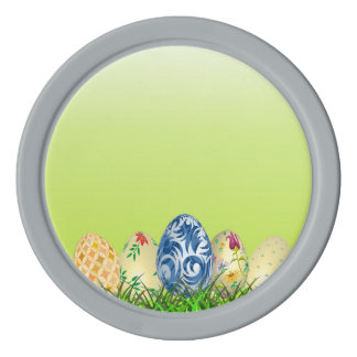 Pretty Patterned Easter eggs on spring green Poker Chips