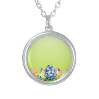 Pretty Patterned Easter eggs on spring green Silver Plated Necklace