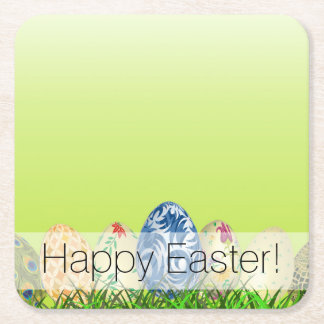 Pretty Patterned Easter eggs on spring green Square Paper Coaster