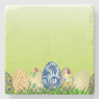 Pretty Patterned Easter eggs on spring green Stone Coaster