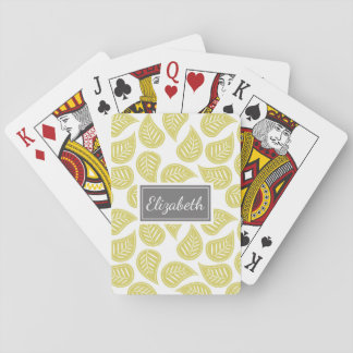 Pretty Patterned Personalized Playing Cards Leaves