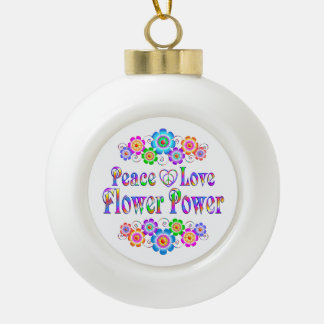 Pretty Peace Love Flower Power Ceramic Ball Christmas Ornament