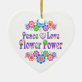Pretty Peace Love Flower Power Ceramic Ornament