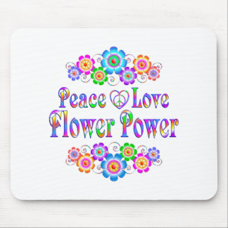 Pretty Peace Love Flower Power Mouse Pad