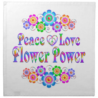 Pretty Peace Love Flower Power Napkin
