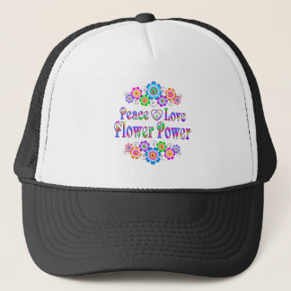 Pretty Peace Love Flower Power Trucker Hat