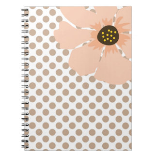 Pretty, Peach and Brown Polka Dots with Flower Notebooks