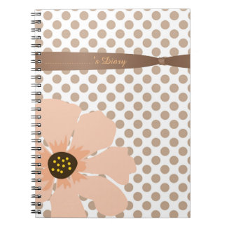 Pretty, Peach and Brown Polka Dots with Flower Spiral Notebook