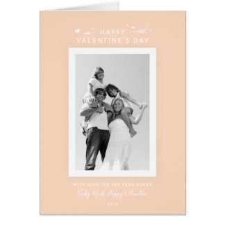 Pretty Peach/Apricot Valentine's Day Family Photo Card