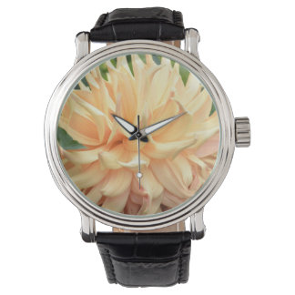 Pretty Peach Dahlia Floral Vintage Watch