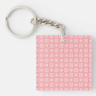 Pretty Peach Flower Patchwork Quilt Pattern Double-Sided Square Acrylic Keychain