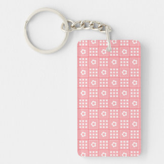 Pretty Peach Flower Patchwork Quilt Pattern Double-Sided Rectangular Acrylic Keychain