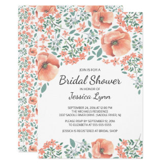 Pretty Peach Flowers Bridal Shower Invite