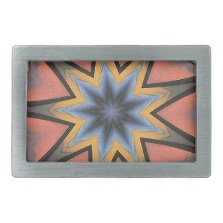 Pretty Peach Gray Starburst Pattern Rectangular Belt Buckle