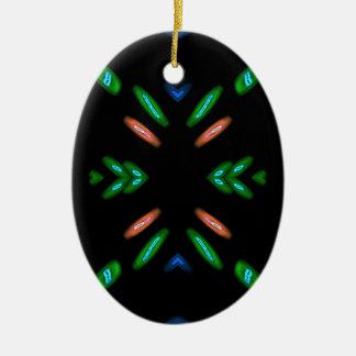 Pretty Peach Green on Black Background Ceramic Ornament