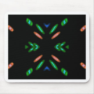 Pretty Peach Green on Black Background Mouse Pad