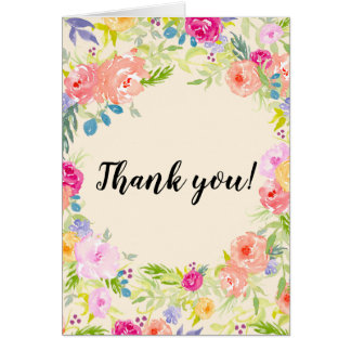 Pretty Peach Pink Watercolor Floral Thank you Card
