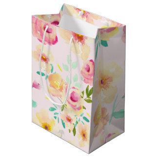 Pretty Peach Pink Yellow Watercolor Floral Medium Gift Bag