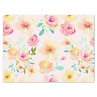 Pretty Peach Pink Yellow Watercolor Floral Tissue Paper