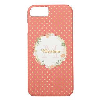 Pretty Peach Polka Dot Floral Name and Monogram iPhone 7 Case