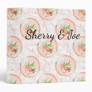 Pretty Peach Watercolor Floral Bird Personalized 3 Ring Binder