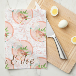 Pretty Peach Watercolor Floral Bird Personalized Kitchen Towel