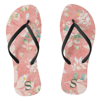 Pretty Peach Watercolor Floral Print Monogrammed Flip Flops