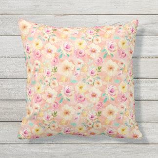 Pretty Peach Watercolor Floral Throw Pillow