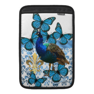 Pretty Peacock and blue butterflies MacBook Sleeve