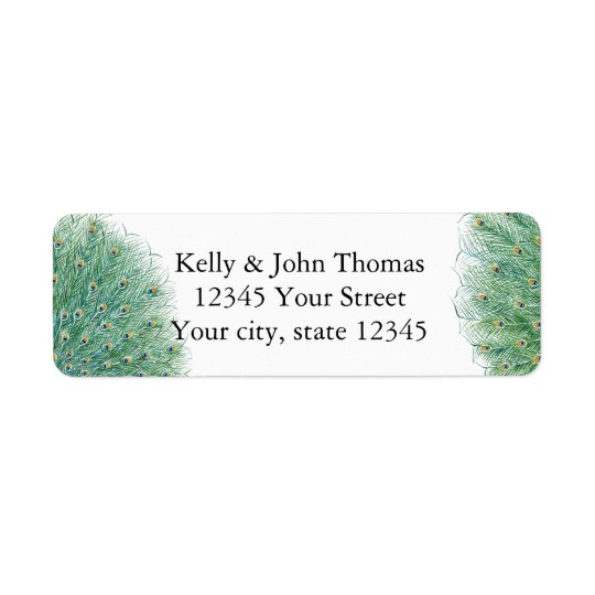 Pretty Peacock Feathers Return Address Label