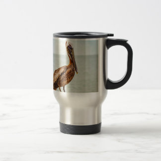 Pretty Pelican Perched Over the Ocean Travel Mug
