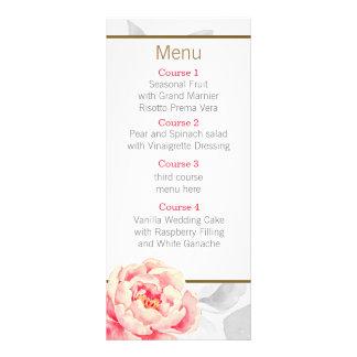 Pretty Peonies Modern Floral wedding menu Personalized Rack Card