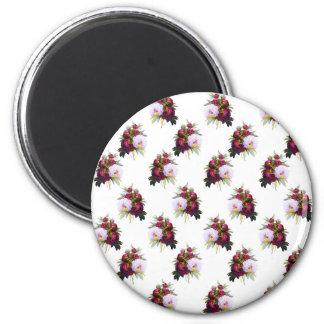 Pretty Peonies Pattern 2 Inch Round Magnet