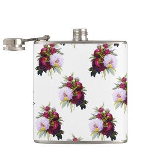Pretty Peonies Pattern Hip Flask